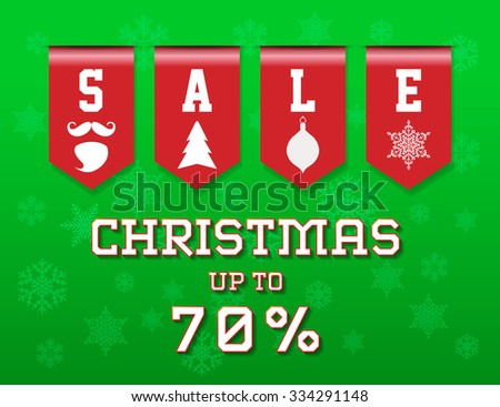 Christmas Sale background with sales ribbon up to 70 % - stock vector