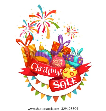 Christmas sale banner with ribbon and firework. Vector illustration.