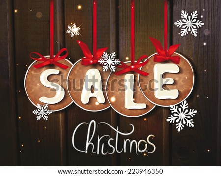 Christmas sale banner with the cookies and snowflackes - stock vector