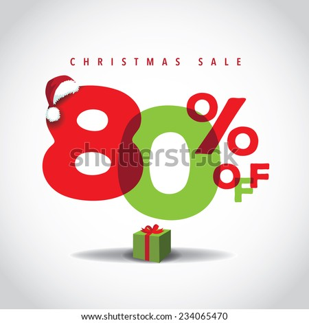 Christmas sale big bright overlapping design 80% off EPS 10 vector illustration  - stock vector