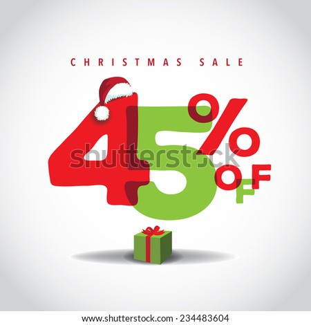 Christmas sale big bright overlapping design 45% off EPS 10 vector stock illustration - stock vector