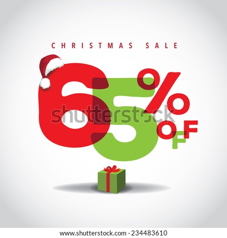 Christmas sale big bright overlapping design 65% off EPS 10 vector stock illustration - stock vector
