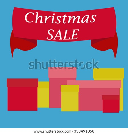 Christmas sale boxes. Sale on holidays. Original package. Sale banner. Sale in the shop. Sell out badge. Trade commerce element. Promo sign. Discount. Vector design illustration - stock vector
