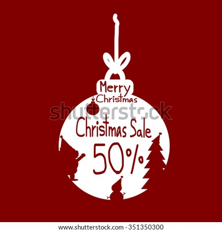 Christmas sale, Christmas sale design template, Red Silhouette Santa Claus snowman Christmas ball and Sale 50 percent discount vector - stock vector