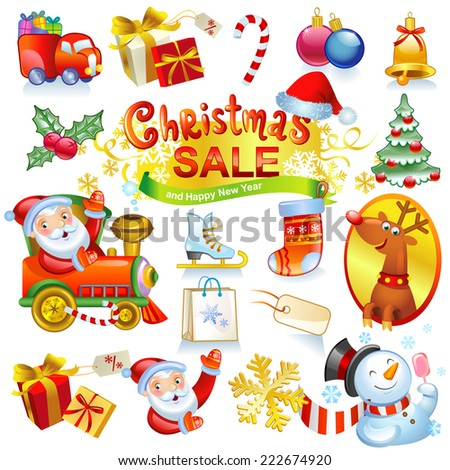 Christmas sale - collection of vector icons and illustrations. For banners, holiday backgrounds, decorations. - stock vector