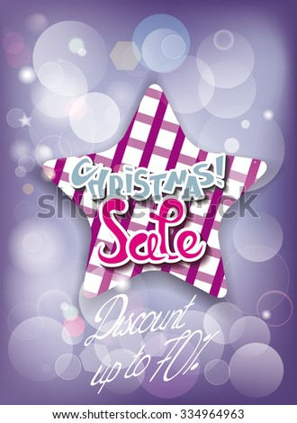 Christmas sale composition with checkered star and copy space