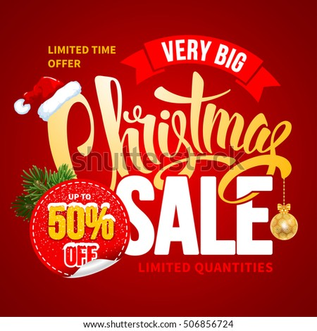 Christmas Sale Design Template. Calligraphy Inscription Christmas Sale. Easy to edit and Customize. Vector Stock Illustration.