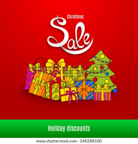 Christmas sale design template. Vector illustration  - stock vector
