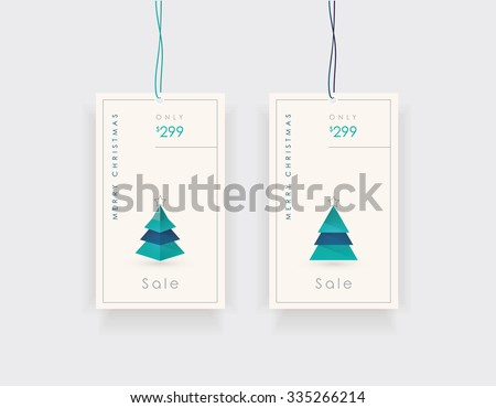 Christmas sale label design set in minimalistic contemporary style with christmas pine tree icon illustrations. - stock vector