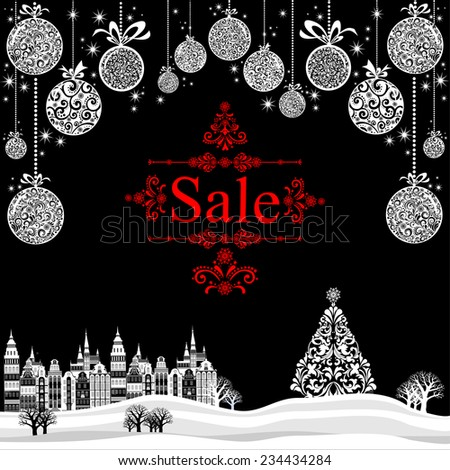 Christmas sale label. Vector Illustration - stock vector