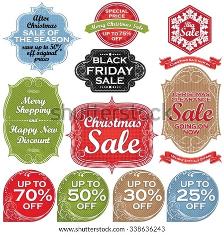 Christmas sale labels and tags