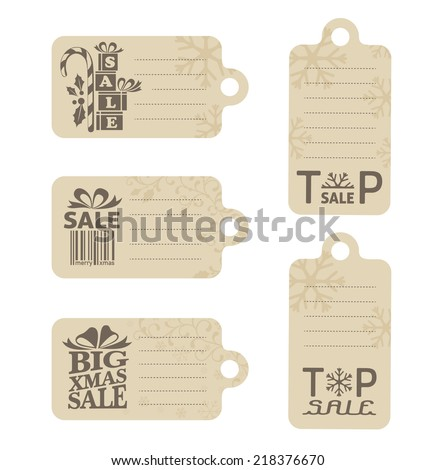 Christmas sale labels. Set of Xmas tags with sale emblems and copy space for your price or text - stock vector