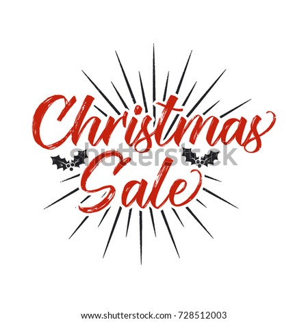 christmas sale lettering design typography elements holiday online shopping type quote stock vector