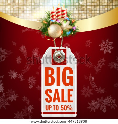 Christmas sale on gold background. EPS 10 vector file included - stock vector