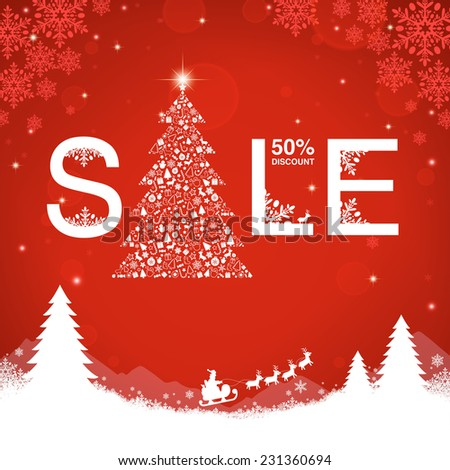 Christmas sale on red background vector illustration - stock vector