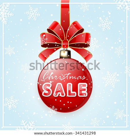 Christmas sale on red Christmas balls with bow and snowflakes, illustration. - stock vector
