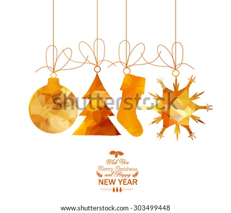 christmas sale polygonal element - stock vector