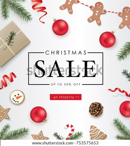 Christmas sale poster template with Christmas ornaments, ribbons, cookies, pine cones and fir branches