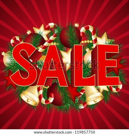 Christmas sale poster with green spruce branch.  vector illustration - stock vector