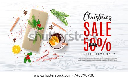 Christmas Sale Promo Web Banner. Top View on Festive Decoration with Paper Gift Box for Happy New Year or Merry Christmas. Vector Illustration with Discount Offer. Greeting Card with Lettering.