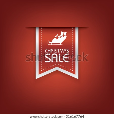 Christmas sale ribbon vector. Holiday discounts banners with santa on sleigh. 3d bookmarks elements. Eps10 vector illustration.
