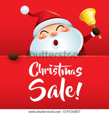 Christmas Sale! Santa Claus with jingle bell.