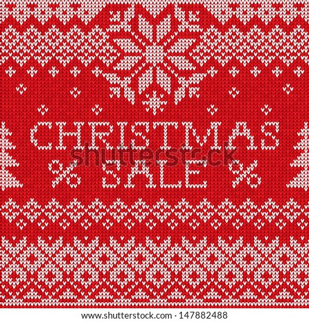 Christmas Sale: Scandinavian style seamless knitted pattern  - stock vector
