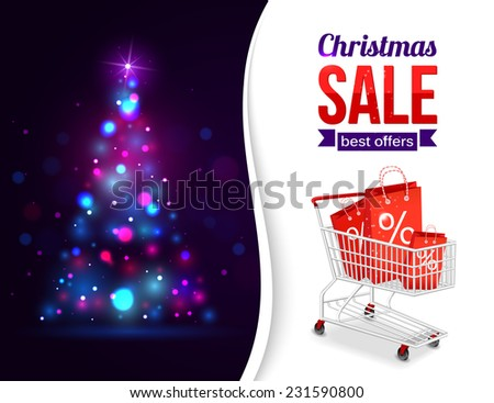 Christmas sale shining typographical background with xmas tree lights and place for text. Vector illustration.
