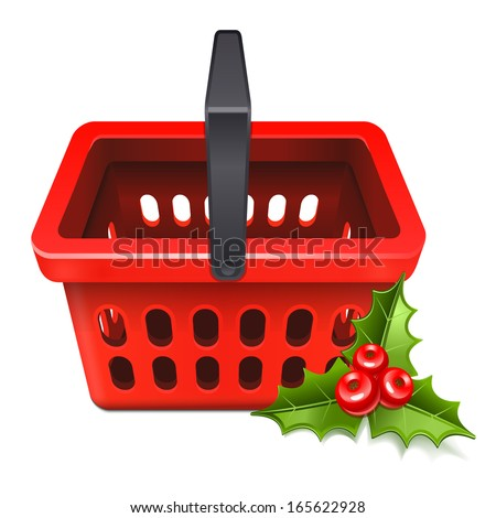 Christmas Sale. Shopping basket icon with the mistletoe 10eps - stock vector