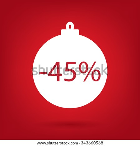 christmas sale sticker tag, 45 percent discount - stock vector