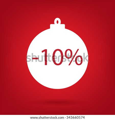 christmas sale sticker tag, 10 percent discount - stock vector