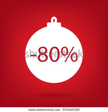 christmas sale sticker tag, 80 percent discount - stock vector