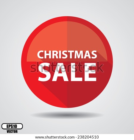 Christmas sale stickers, label, tag, and icon set on red circle shiny on white background - Vector illustration. - stock vector