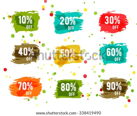 Christmas sale tag, new year, black friday discount, cyber monday or winter autumn sale percents. Vector paint watercolor brush, splash. Stylish design for web, app or print. Easy to change color. - stock vector