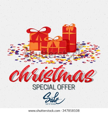Christmas sale, tag on a shoestring It can be used for product design during the discounts and sales - stock vector