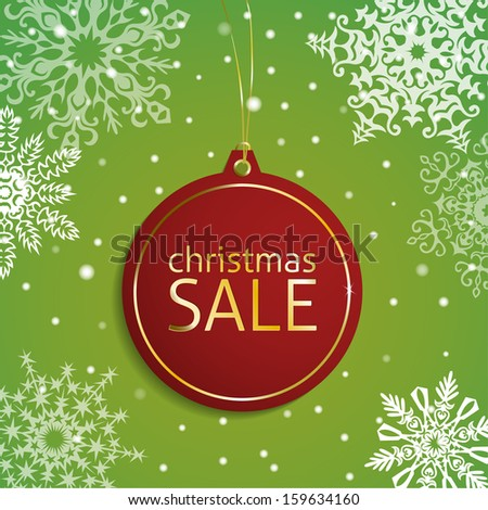 Christmas sale tag on a snowy background - stock vector