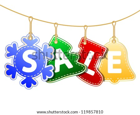 Christmas Sale Tags on christmas signs. Vector illustration - stock vector