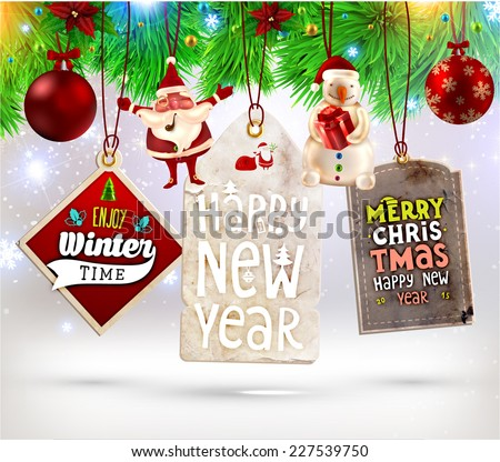 Christmas Sale Tags Set with Labels for Xmas and New Year Holiday Design. Santa Claus, Snowman, Christmas Balls and Xmas Tree. - stock vector