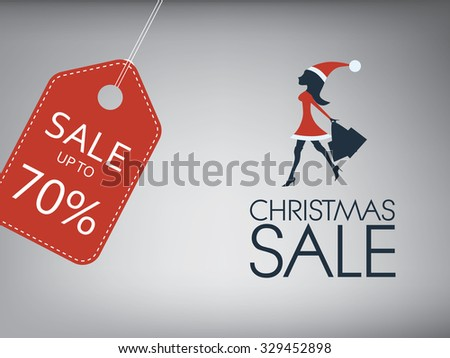 Christmas sale vector background template. Sexy woman in santa outfit shopping. Red price tag with space for your copy. Eps10 vector illustration. - stock vector