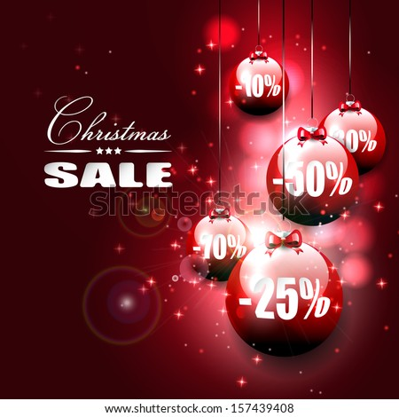 Christmas sale -vector background with red baubles on dark background - stock vector