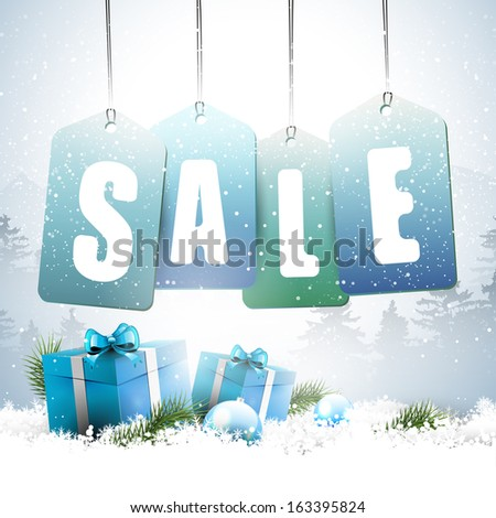 Christmas sale - vector background with sale tags and gift boxes in snow - stock vector