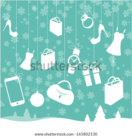 Christmas sale vector template and design element set - stock vector