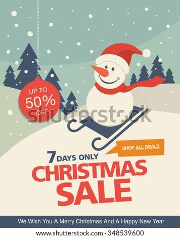 Christmas sale. Vintage vector banner design - stock vector