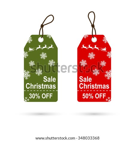 Christmas sales tag with snowflakes. Christmas discounts. Red and green price tag. Vector - stock vector