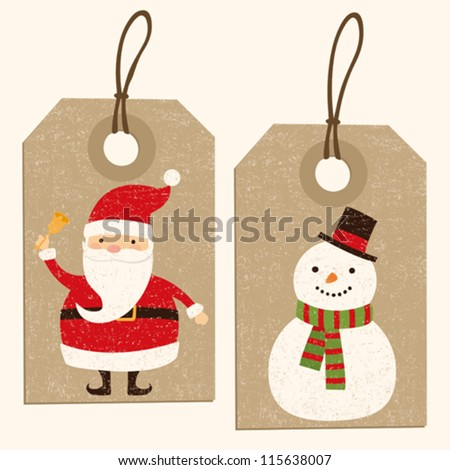Christmas Santa and Snowman tags