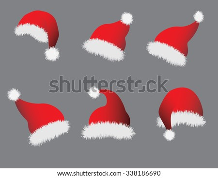 Christmas Santa caps on gray background. Vector illustration format. Saved in illustrator version 10.