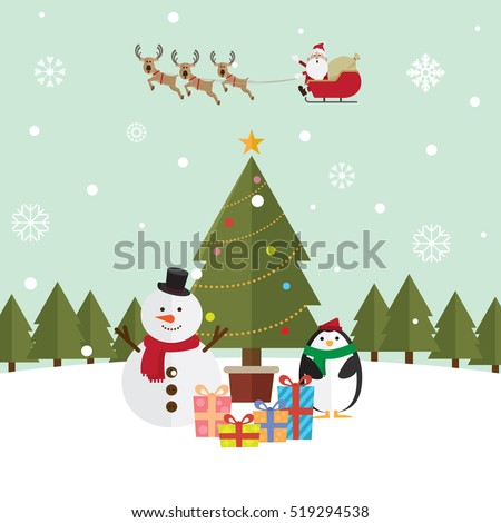 Christmas santa claus and reindeer snow vector