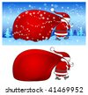 Christmas Santa Claus with big red bag walking in snow, vector illustration - stock vector