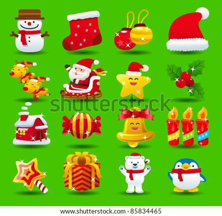 christmas,santa clause,xmas icon set - stock vector