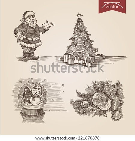 Christmas Santa New Year handdrawn engraving style template poster banner print web site pen pencil crosshatch hatching paper painting retro vintage vector lineart illustration. - stock vector